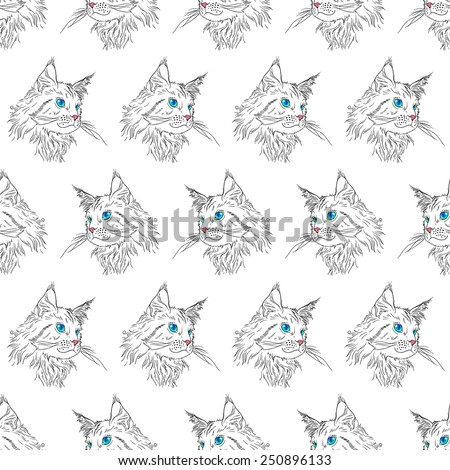 Maine coon cat portrait. Hand drawn vector illustration. Pet seamless pattern background