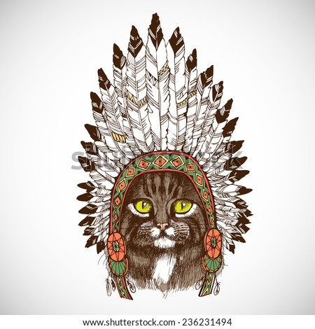 Maine coon cat portrait with native american indian chief headdress (indian chief mascot, indian tribal headdress, indian headdress). Hand drawn vector illustration.  - stock vector