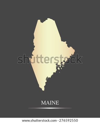Maine map outlines in an abstract grey background, a black and white map of State of Maine in USA - stock vector