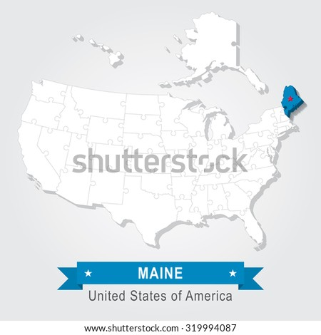 Maine state. USA administrative map.