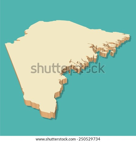 Maine Usa Map Three Dimensional Vector Stock Vector - Maine in usa map