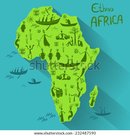 Mainland Africa in ethnic style, - stock vector