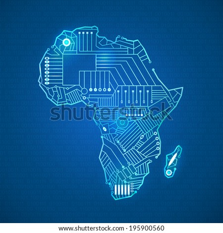 Mainland contour Africa in technological style with intertwining cables, computer, on a blue background - stock vector