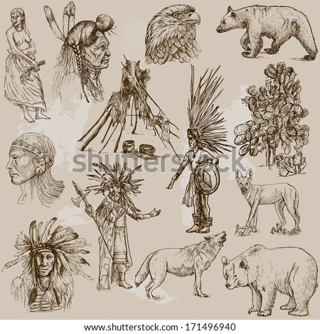 Mainly INDIANS (and Wild West as well), set no.2. Collection of hand drawn illustrations. Description: Each drawing comprises two layers of outlines, the colored background is isolated. - stock vector