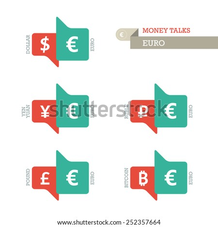 Mainstream Euro Dollar Yen Yuan Bitcoin Ruble Pound currency symbols on up and down sign. Vector illustration graphic template isolated on white background. - stock vector