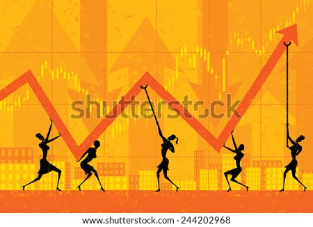 Maintaining Profits Businesswomen holding up profits during tough economic times. The women and background are on separate labeled layers.  - stock vector