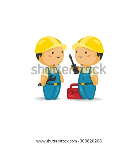 Maintenance Workers with Tools  - stock vector