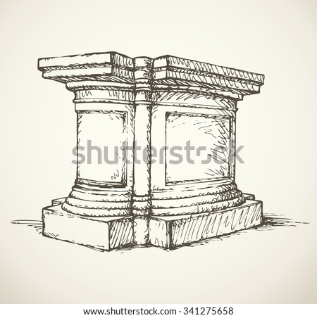 Majestic aged granite greek carved pylon block plinth on luxury ornate base isolated on white backdrop. Freehand outline ink drawn symbol sketch in doodle style. View closeup with label space for text - stock vector