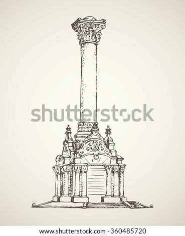 Majestic aged granite greek carved pylon block plinth on luxury ornate base isolated on white backdrop.  - stock vector