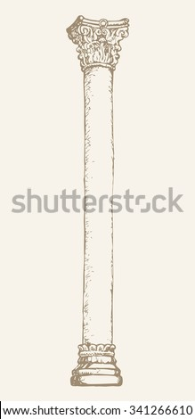 Majestic aged granite pylon carved shaft grecian corinthian order on luxury base isolated on white backdrop. Freehand outline ink drawn symbol sketch in doodle style. View closeup with space for text - stock vector