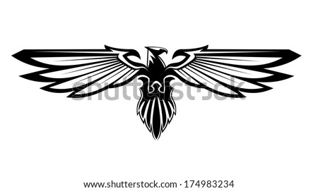 Majestic black eagle logo for heraldry design isolated on white - stock vector