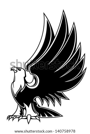 Majestic eagle mascot isolated on white background for tattoo or heraldry design or logo template. Jpeg (bitmap) version also available in gallery - stock vector