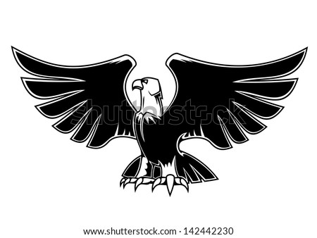 Majestic eagle with open wings for heraldry and tattoo design, also as a logo idea. Jpeg version also available in gallery  - stock vector