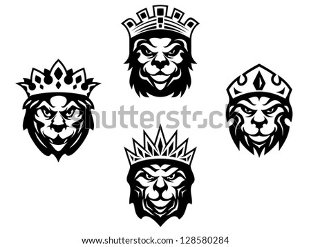 Majestic lions with crowns for heraldry design, such as idea of logo. Jpeg version also available in gallery