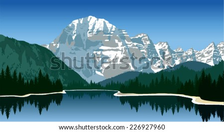 Majestic mountain lake in Canada. - stock vector