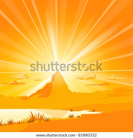 Majestic Mountain with lake - stock vector