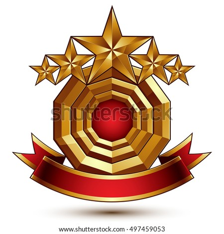 Majestic vector golden ring isolated on white background, 3d polished five golden stars. Heraldic branded symbol with festive red ribbon.