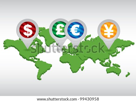 Major currencies on world map - vector business illustration - stock vector