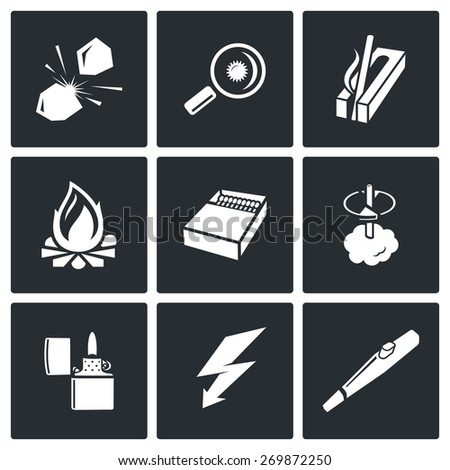 Make a fire, the fire source icons: stone on stone, magnifying glass, ignition, carving fire, fire, match boxes, lighter, lightning, Piezo lighters. Vector Illustration. - stock vector