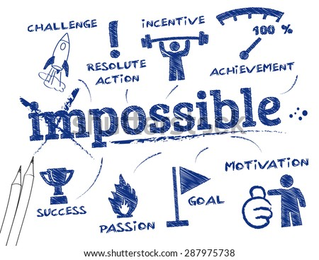 make it possible. Chart with keywords and icons - stock vector