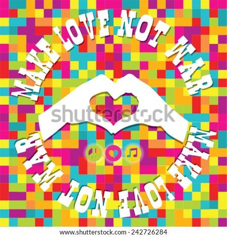 Make Love Not War - Hippie style. Pixel Vector Illustration - stock vector