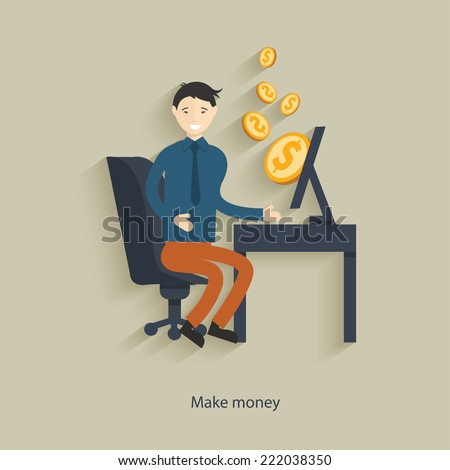 Make money concept design,clean vector - stock vector