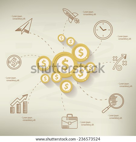 Make money design,info graphic on old paper background,clean vector - stock vector