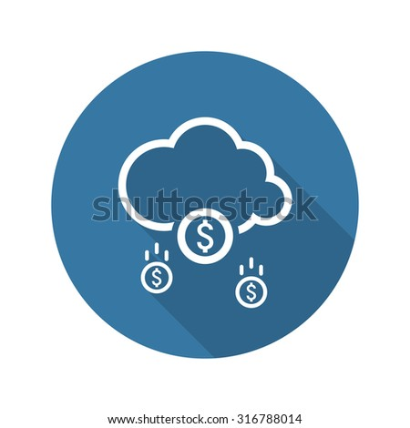 Make Money Icon. Business Concept. Cloud Mining. Flat Design. Isolated Illustration. Long Shadow. - stock vector