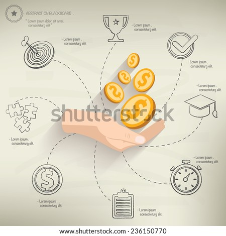 Make money,info graphic design on old paper background,clean vector - stock vector