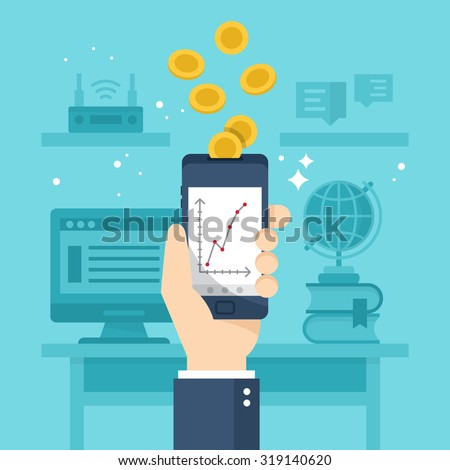 Make money online with smartphone concept. Flat stylish vector illustration - stock vector
