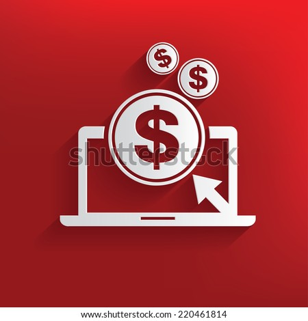 Make money symbol on red background,clean vector - stock vector