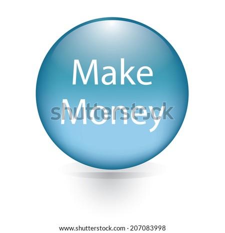 Make money word blue button  - stock vector