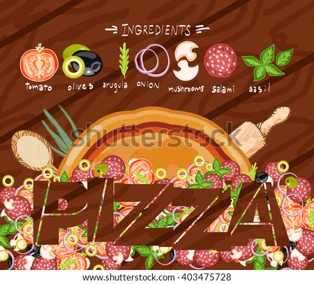 Make pizza ingredients on wooden table - stock vector