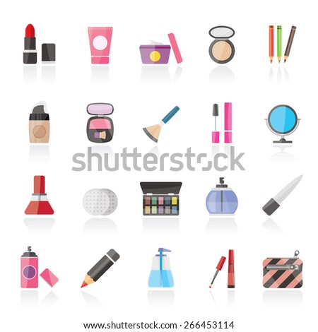 Make-up and cosmetics icons  - vector icon set - stock vector
