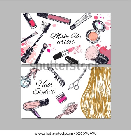 Make artist hair stylist business cards stock vector 626698490 make up artist and hair stylist business cards beauty and fashion vector hand drawn fbccfo