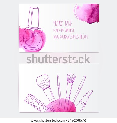 Make artist business card template vector stock vector hd royalty make up artist business card template vector layout with hand drawn illustrations of nail polish fbccfo Images