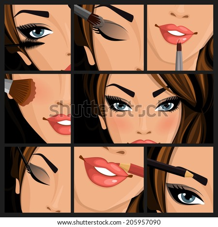 Make-up beauty woman set of lips eyes face on black background vector illustration - stock vector