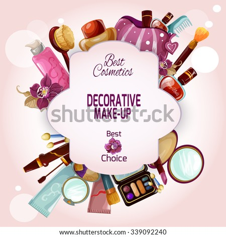 Make-up concept with decorative female cosmetics and beauty products set vector illustration - stock vector