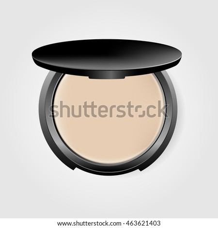 Make up cosmetics. Makeup accessories. Face powder in a black container. Vector illustration. Isolated on gray background.