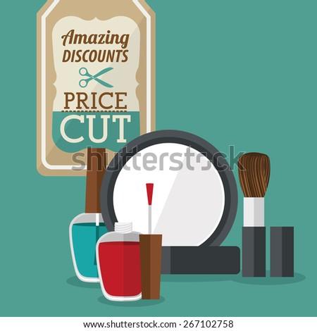 Make up design over green background, vector illustration - stock vector