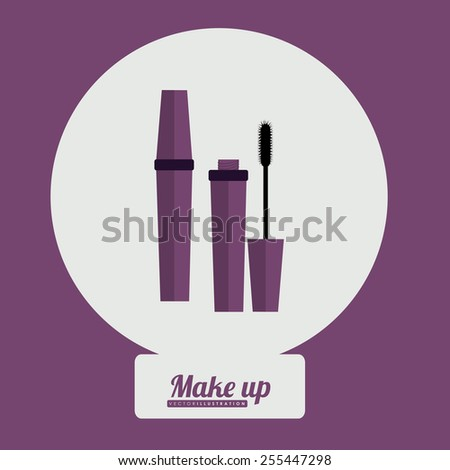 make up desing over purple background, vector illustration - stock vector