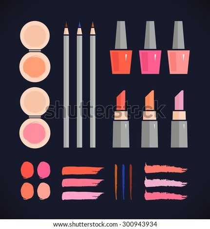 Make up vector set. Beauty fashion collection of various make up accessories on black background - stock vector