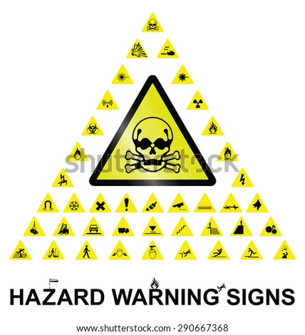 Make your own hazard warning sign with main central sign and forty related hazard warning graphics isolated on white background - stock vector