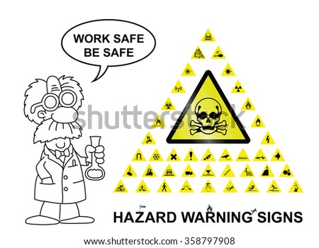 Make your own hazard warning sign with main central sign and forty related hazard warning graphics isolated on white background with work safe be safe message - stock vector