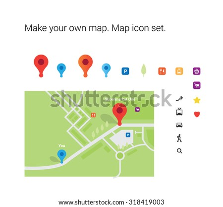 Make your own map! Map icon set. Red pin. Design element