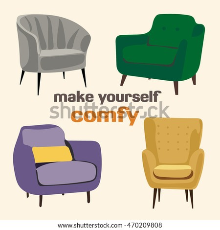 Make Yourself Comfy Chairs Collection Set. Mid Century Modern 1950 1960  Furniture Illustration. Interior
