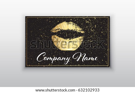 Makeup artist business card business cards stock vector hd royalty makeup artist business card business cards template with gold lips print and black brush flashek Images