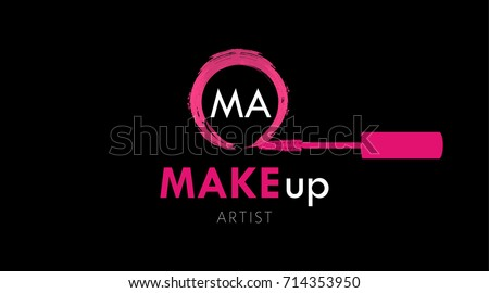Makeup Artist Business Card Logo Template Stock Vector 714353950