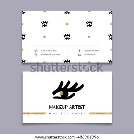Makeup artist business card modern hipster em vetor stock 486901996 makeup artist business card modern hipster minimal design vector graphics marker hand drawn reheart Images