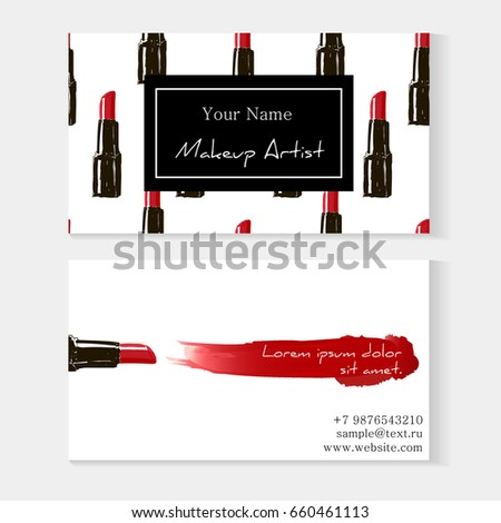 Makeup artist business card template red stock vector royalty free makeup artist business card template red lipstick seamless pattern and red lipstick smear with reheart Gallery
